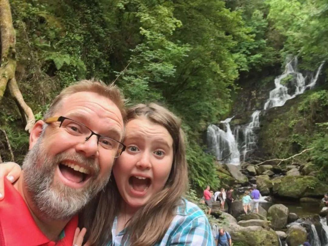 family hiking father daughter fun