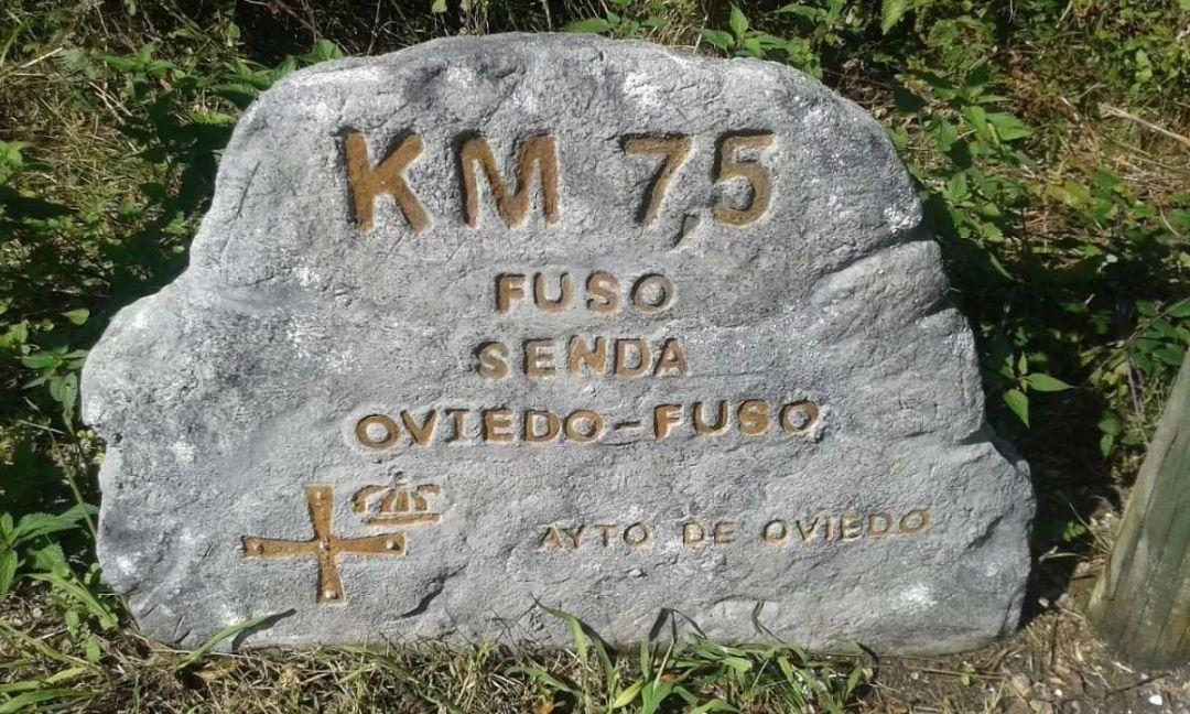 Hiking Milestone on Pilgrim path Spain